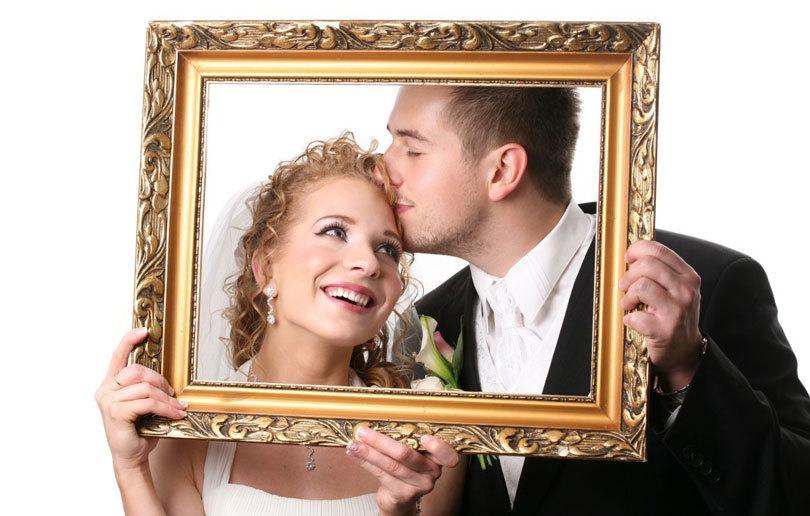 свадебное фото с рамкой