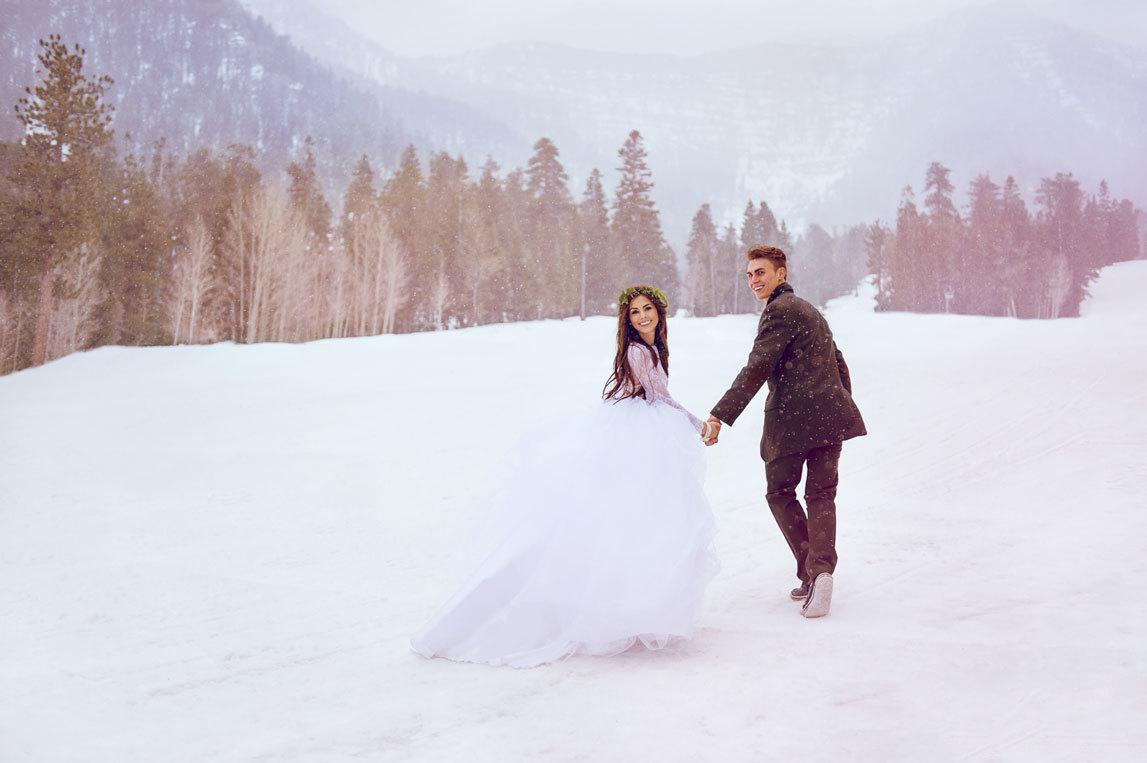 Зимняя свадьба в заснеженных горах