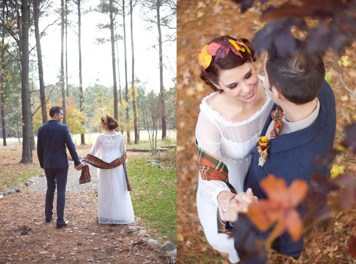 Пример осенней свадебной фотосессии