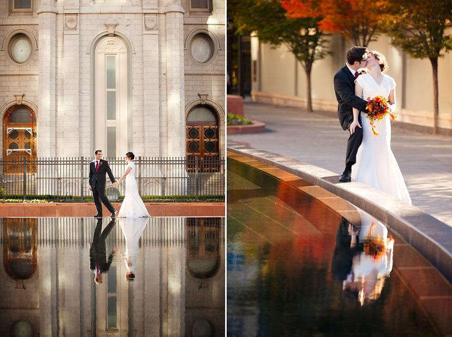 Свадебная фотография осенью у воды