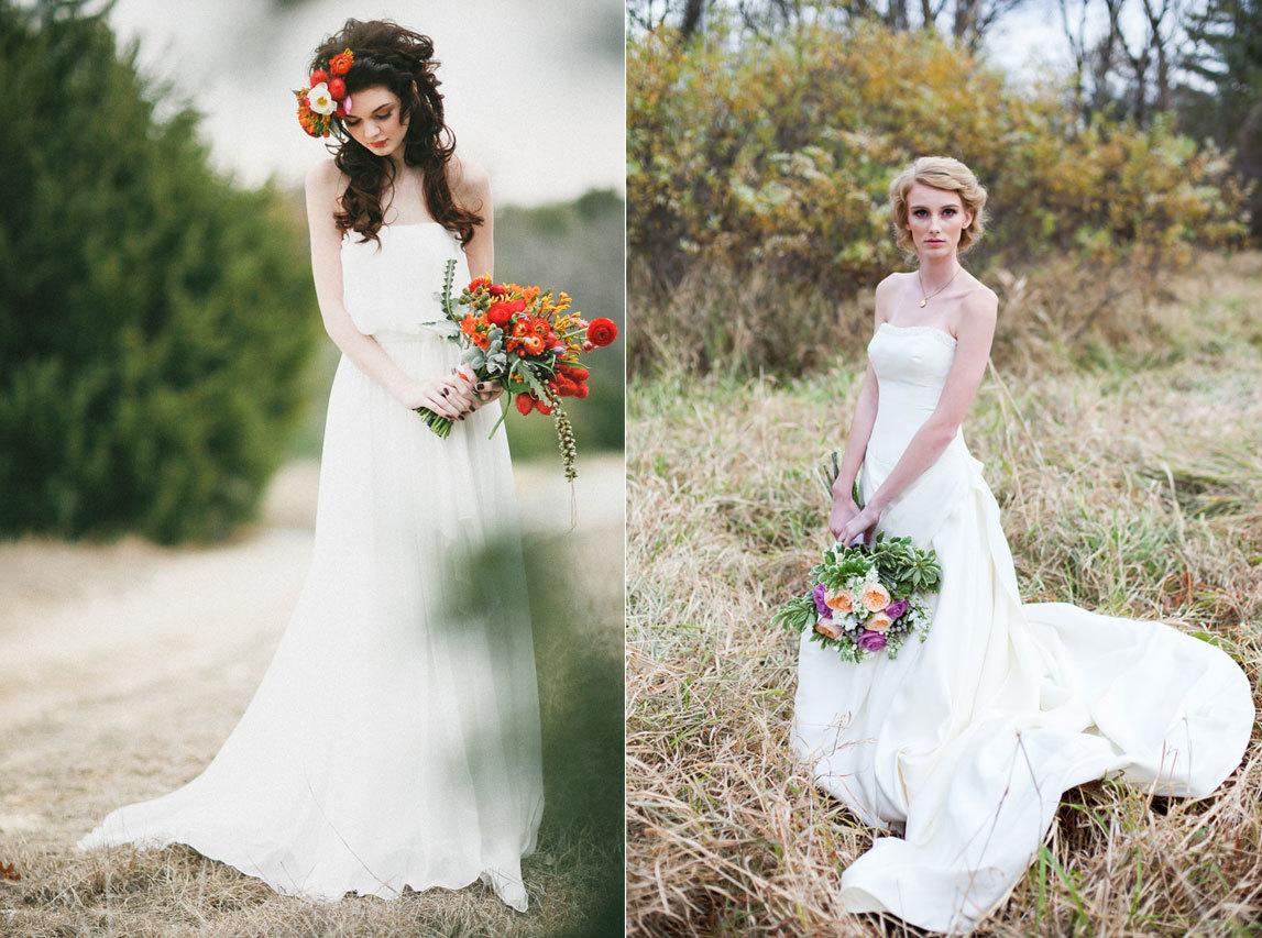 осенние невесты с красивыми букетами цветов