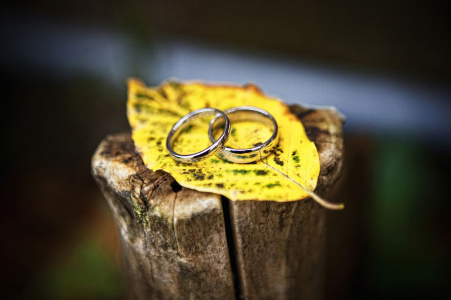 свадебные кольца на осеннем листе